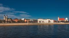 panorama of an old town, altstadt, of magdeburg, germany - stock photo