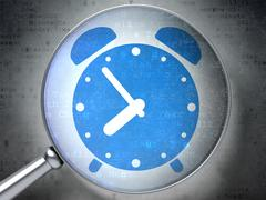 Stock Illustration of Time concept: Alarm Clock with optical glass on digital backgro