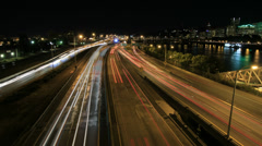 Freeway Traffic Light Trails in Portland Oregon with City Skyline Time Lapse Stock Footage