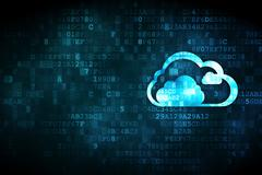 Cloud computing concept: Cloud on digital background - stock illustration