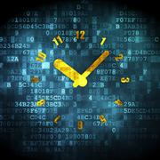 Timeline concept: Clock on digital background - stock illustration