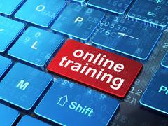 Education concept: Online Training on computer keyboard backgrou - stock illustration
