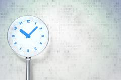 Time concept: Clock with optical glass on digital background - stock illustration