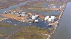 Hurricane Katrina Flooded Industrial Site Stock Footage