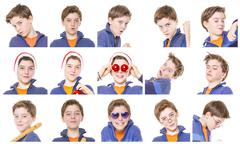 Collection of male teenager portraits, isolated on white Stock Photos