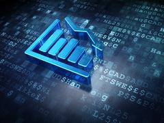 News concept: Blue Decline Graph on digital background Stock Illustration