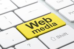 SEO web design concept: Web Media on computer keyboard backgroun Stock Illustration