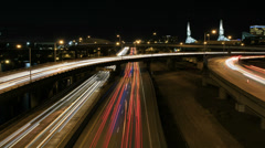 Rush Hour Freeway Traffic Light Trails in Downtown Portland Oregon Time Lapse Stock Footage