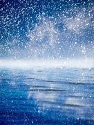 snowing at sea with a beautiful sky. beautiful background - stock illustration
