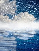 Stock Illustration of snowing at sea with a beautiful sky. beautiful background