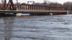 Ontario spring flood and raging river Stock Footage