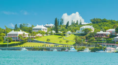 View Across Hamilton Harbour from the City in Bermuda Stock Footage