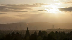 Portland Oregon Cityscape from Mount Tabor at Sunset with Golden Sky Time Lapse Stock Footage