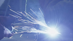 HD Welding a steel parts with gas arc welding Stock Footage