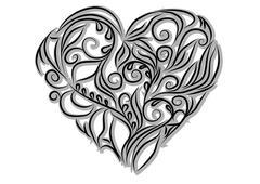 Floral heart shape Stock Illustration