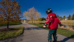 Boy skating on the rollerblades Stock Footage