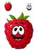 Stock Illustration of cartoon ripe red raspberry with a cheeky grin