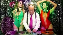 grandpa dj sexy gogo dancer music disco club - stock footage