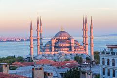 Blue mosque Istanbul sunset - stock photo