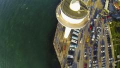 Flying over vessel traffic radar tower at Uskudar in Istanbul City, Turkey Stock Footage