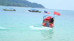 Boat in the sea (Malaysia - Perhentian islands) Stock Footage