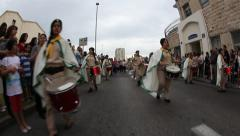 Carmel Scouts Haifa play bagpipes and drums during Light Saturday procession Stock Footage