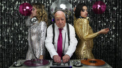 grandpa dj sexy gogo dancer music disco club - stock footage