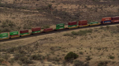 Stationary Train in Desert Stock Footage