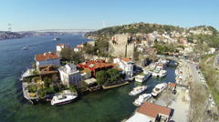 Aerial view on Goksu River. Bosphorus Sea FSM Bridge, Anadolu Hisari in distance Stock Footage