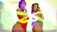 Bikini swimsuit babes sexy disco women Stock Footage