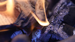 Fire burns with flames - stock footage