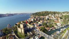 Bosphorus Sea, Anadolu Hisari and Goksu River. Fly over Video Stock Footage
