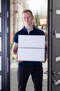 courier delivered order - stock photo