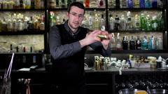 cocktail man bar drink  - stock footage