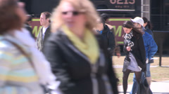 Tourists on sunny spring day Stock Footage