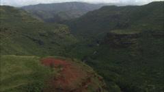 Green mountain trees canyon stream Stock Footage