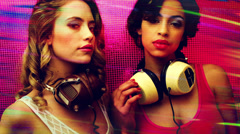 two sexy women dancers disco club party music - stock footage