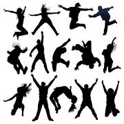 Jumping and flying people silhouettes Stock Illustration