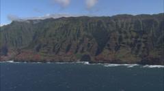 Blue ocean mountain island Stock Footage