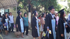 College Graduates queued for marching Stock Footage