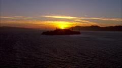 San Francisco Sunset Alcatraz Golden Gate - stock footage
