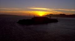 San Francisco Sunset Alcatraz Golden Gate Stock Footage