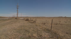 Western Kansas Mesa and power lines Stock Footage