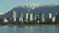 English Bay Sailboat, Vancouver Stock Footage