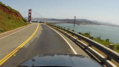 San Francisco Ocean Driving Pacific Coast Highway Golden Gate Bridge view Stock Footage