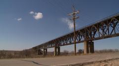 Western Kansas Bridge truck passes Stock Footage