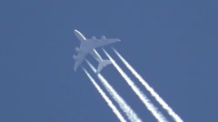 Airplane altitude water vapor Contrails Stock Footage