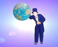 Stock Illustration of A gentleman in tux tries to grasp the world economy