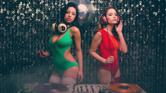 Dj sexy disco party women music Stock Footage