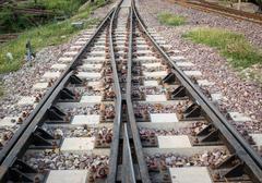 railway junction - stock photo